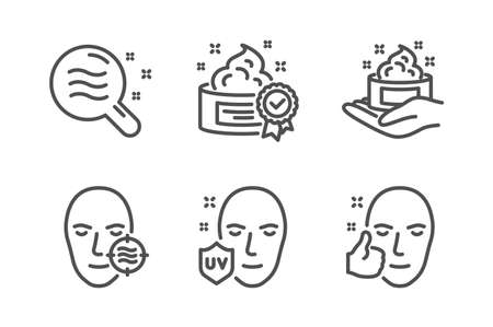 Skin condition, Cream and Skin care icons simple set. Uv protection, Healthy face signs. Search magnifier, Best lotion. Beauty set. Line skin condition icon. Editable stroke. Vector 向量圖像