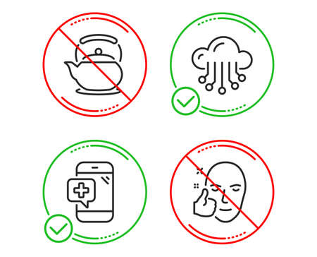 Do or Stop. Medical phone, Cloud storage and Teapot icons simple set. Healthy face sign. Mobile medicine, Data service, Tea kettle. Healthy cosmetics. Business set. Line medical phone do icon. Vector Banque d'images - 124075889