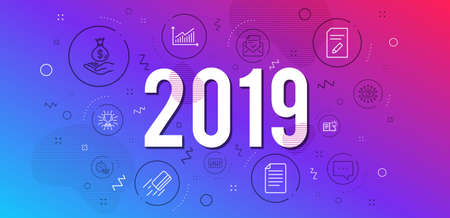 Infographic concept. Approved mail, Blog and Graph icons simple set. Credit card, File and Artificial intelligence signs. Edit document, Product knowledge and Quick tips symbols. 2019 year. Vector