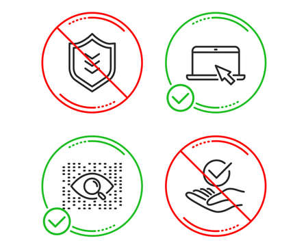 Do or Stop. Artificial intelligence, Shield and Portable computer icons simple set. Approved sign. Find data, Protection or security, Notebook device. Verified symbol. Vector