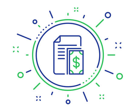 Payment line icon. Document with cash money symbol. Dollar currency sign. Quality design elements. Technology payment button. Editable stroke. Vector