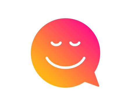 Comic speech bubble with Smile icon. Chat emotion sign. Classic flat style. Gradient smile icon. Vector
