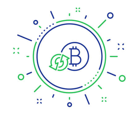 Bitcoin line icon. Refresh cryptocurrency coin sign. Crypto money symbol. Quality design elements. Technology refresh bitcoin button. Editable stroke. Vector