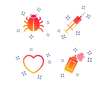 Bug and vaccine syringe injection icons. Heart and spray can sign symbols. Random dynamic shapes. Gradient insect icon. Vector Illustration