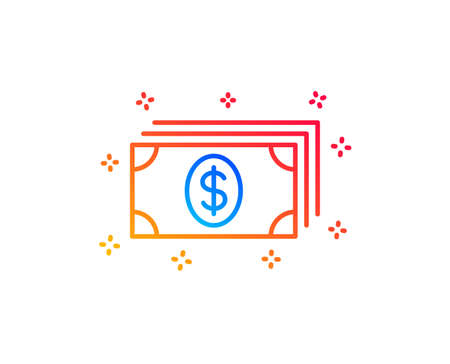 Cash money line icon. Banking currency sign. Dollar or USD symbol. Gradient design elements. Linear banking icon. Random shapes. Vector