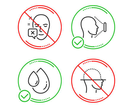 Do or Stop. Face declined, Oil drop and Face id icons simple set. Identification error, Serum, Identification system. Faces detection. Medical set. Line face declined do icon. Prohibited ban stop