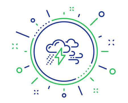 Clouds with raindrops, lightning, wind line icon. Bad weather sign. Quality design elements. Technology bad weather button. Editable stroke. Vector