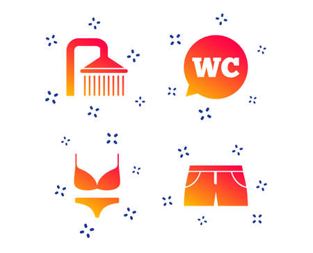 Swimming pool icons. Shower water drops and swimwear symbols. WC Toilet speech bubble sign. Trunks and women underwear. Random dynamic shapes. Gradient pool icon. Vector Imagens - 120041653