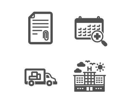 Set of Attachment, Medical calendar and Truck transport icons. Hotel sign. Attach file, Doctor appointment, Delivery. Travel.  Classic design attachment icon. Flat design. Vector