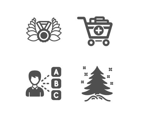 Set of Add products, Laureate medal and Opinion icons. Christmas tree sign. Shopping cart, Laurel wreath, Choose answer. Spruce.  Classic design add products icon. Flat design. Vector