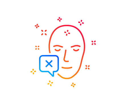 Face declined line icon. Human profile sign. Facial identification error symbol. Gradient design elements. Linear face declined icon. Random shapes. Vector