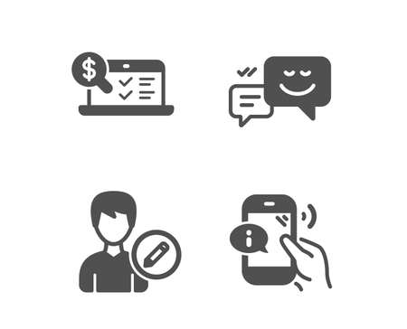 Set of Happy emotion, Edit person and Online accounting icons. Call center sign. Web chat, Change user info, Web audit. Phone support. Classic design happy emotion icon. Flat design. Vector