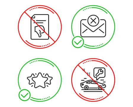 Do or Stop. Thumb down, Reject mail and Star icons simple set. Car service sign. Decline file, Delete letter, Favorite. Repair service. Line thumb down do icon. Prohibited ban stop. Good or bad