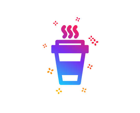 Takeaway Coffee cup icon. Hot drink sign. Takeout symbol. Dynamic shapes. Gradient design takeaway icon. Classic style. Vector