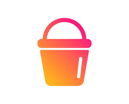 Cleaning bucket icon. Washing Housekeeping equipment sign. Classic flat style. Gradient bucket icon. Vector Illustration