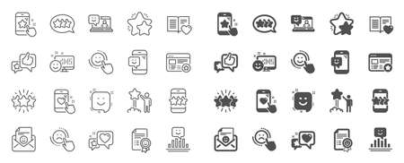 Feedback line icons. Set of User Opinion, Customer service and Star Rating icons. Testimonial, Positive negative emotion, Customer satisfaction. Social media feedback, star rating technology. Vector Stockfoto - 124075971