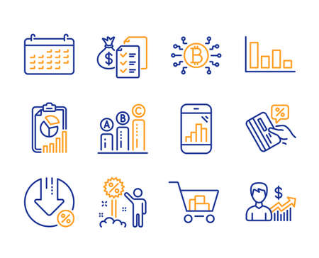 Internet shopping, Accounting wealth and Loan percent icons simple set. Bitcoin system, Graph phone and Credit card signs. Histogram, Graph chart and Report symbols. Line internet shopping icon