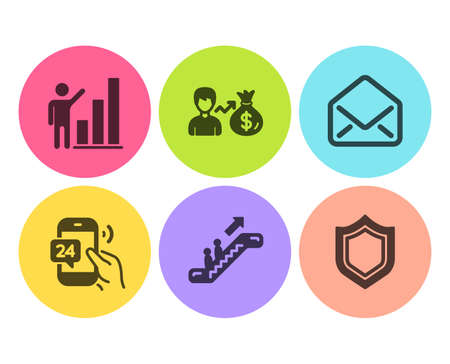 Graph chart, Mail and Escalator icons simple set. 24h service, Sallary and Security signs. Growth report, E-mail. Flat graph chart icon. Circle button. Vector