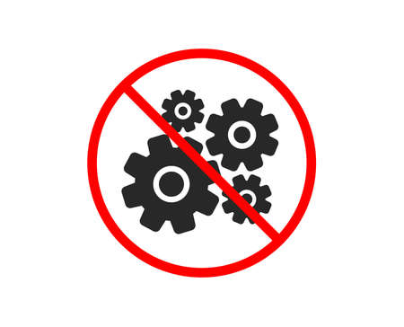 No or Stop. Cogwheel icon. Engineering tool sign. Cog gear symbol. Prohibited ban stop symbol. No cogwheel icon. Vector Stock Vector - 124075981