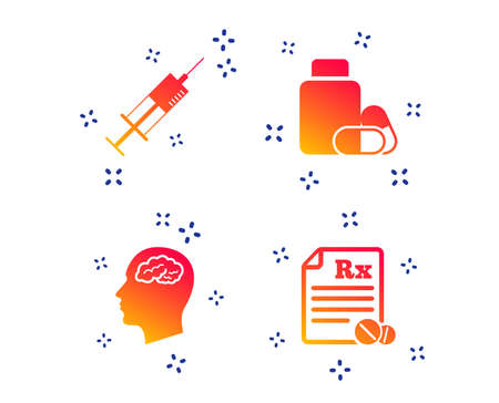 Medicine icons. Medical tablets bottle, head with brain, prescription Rx and syringe signs. Pharmacy or medicine symbol. Random dynamic shapes. Gradient medicine icon. Vector