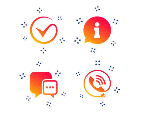 Check or Tick icon. Phone call and Information signs. Support communication chat bubble symbol. Random dynamic shapes. Gradient information icon. Vector