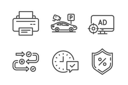 Seo adblock, Parking security and Printer icons simple set. Survey progress, Select alarm and Loan percent signs. Search engine, Video camera. Technology set. Line seo adblock icon. Editable stroke