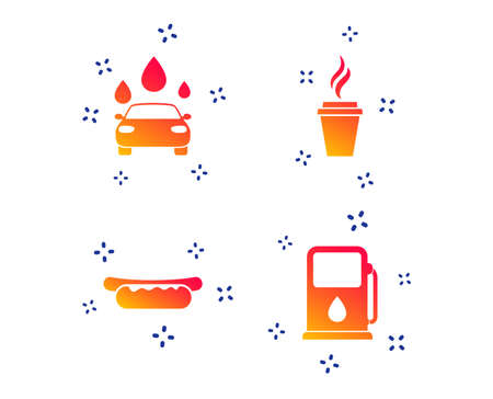 Petrol or Gas station services icons. Automated car wash signs. Hotdog sandwich and hot coffee cup symbols. Random dynamic shapes. Gradient petrol station icon. Vector Illustration