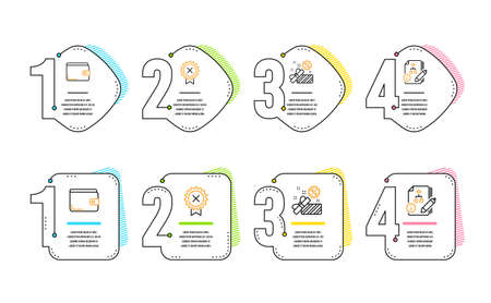 Reject medal, Sale and Money wallet icons simple set. Algorithm sign. Award rejection, Gift box, Payment method. Project. Business set. Infographic timeline. Line reject medal icon. 4 options or steps