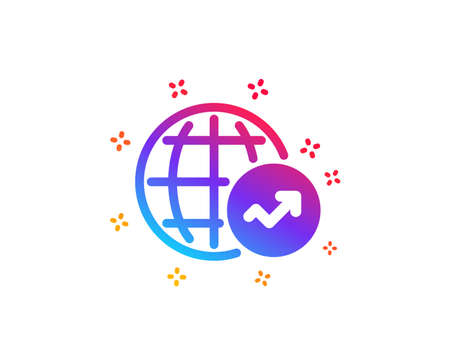World Statistics icon. Report chart or Sales growth sign. Data Analysis graph symbol. Dynamic shapes. Gradient design world Statistics icon. Classic style. Vector