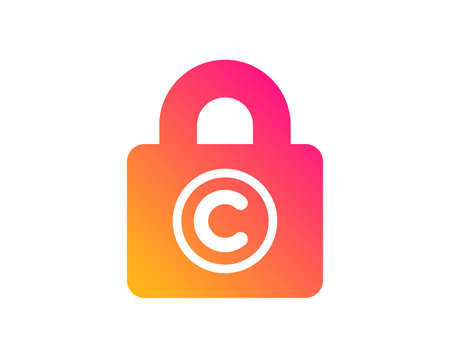 Copyright locker icon. Copywriting sign. Private Information symbol. Classic flat style. Gradient copyright locker icon. Vector