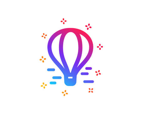 Air balloon icon. Flight transport with basket sign. Amusement park symbol. Dynamic shapes. Gradient design air balloon icon. Classic style. Vector