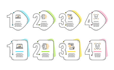 Online statistics, Cogwheel and Smartphone sms icons simple set. Face detection sign. Computer data, Idea bulb, Mobile messages. Detect person. Business set. Infographic timeline. Vector Illustration