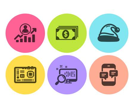 Motherboard, Search and Career ladder icons simple set. Banking, Santa hat and Phone messages signs. Computer component, Find file. Business set. Flat motherboard icon. Circle button. Vector Иллюстрация