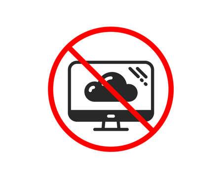 No o detente. Icono de computadora. Signo de servicio de almacenamiento en la nube. Símbolo de monitor. Prohibido símbolo de parada de prohibición. Sin icono de almacenamiento en la nube. Vector