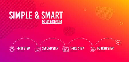 Infographic timeline. Reject, Honor and Seo statistics icons simple set. Target sign. Delete message, Medal, Analytics chart. Targeting. Business set. 4 steps layout. Line reject icon. Vector