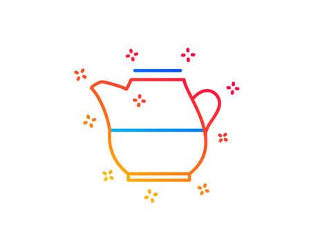 Milk jug for coffee icon. Fresh drink sign. Beverage symbol. Gradient design elements. Linear milk jug icon. Random shapes. Vector Stock Illustratie