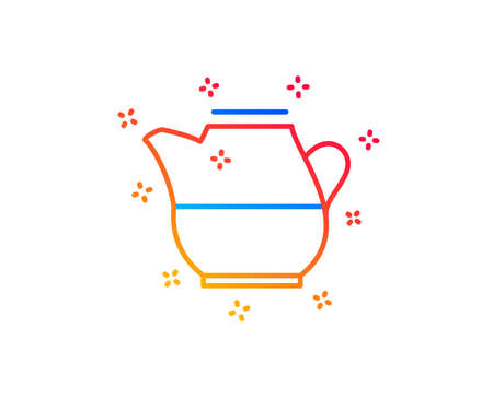 Milk jug for coffee icon. Fresh drink sign. Beverage symbol. Gradient design elements. Linear milk jug icon. Random shapes. Vector Illustration