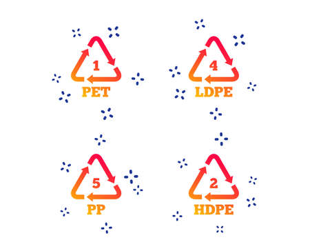 PET 1, Ld-pe 4, PP 5 and Hd-pe 2 icons. High-density Polyethylene terephthalate sign. Recycling symbol. Random dynamic shapes. Gradient plastic pet icon. Vector Çizim