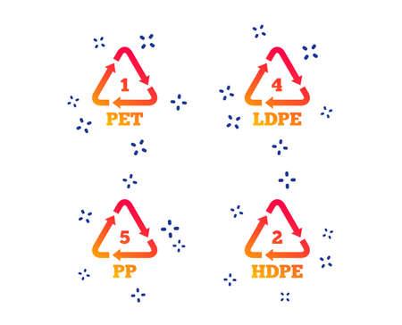 PET 1, Ld-pe 4, PP 5 and Hd-pe 2 icons. High-density Polyethylene terephthalate sign. Recycling symbol. Random dynamic shapes. Gradient plastic pet icon. Vector Illustration