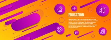 Header banner. Quick tips, Accepted payment and Bitcoin graph icons simple set. Graph chart, Musical note and Finance calculator signs. Helpful tricks, Bank transfer. Education set. Vector