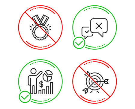 Do or Stop. Reject, Honor and Seo statistics icons simple set. Target sign. Delete message, Medal, Analytics chart. Targeting. Business set. Line reject do icon. Prohibited ban stop. Good or bad Illustration