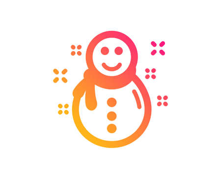 Christmas snowman icon. New year sign. Winter holiday symbol. Classic flat style. Gradient snowman icon. Vector