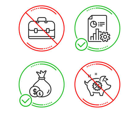 Do or Stop. Portfolio, Report and Cash icons simple set. Piggy sale sign. Business case, Presentation document, Banking currency. Discounts. Finance set. Line portfolio do icon. Prohibited ban stop