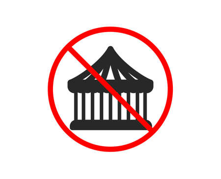 No or Stop. Carousels icon. Amusement park sign. Prohibited ban stop symbol. No carousels icon. Vector Illustration