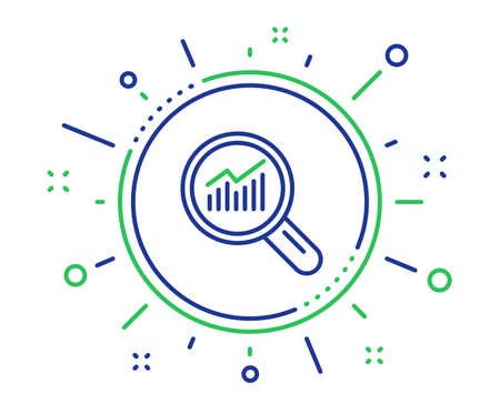Chart line icon. Report graph or Sales growth sign in Magnifying glass. Analysis and Statistics data symbol. Quality design elements. Technology data analysis button. Editable stroke. Vector