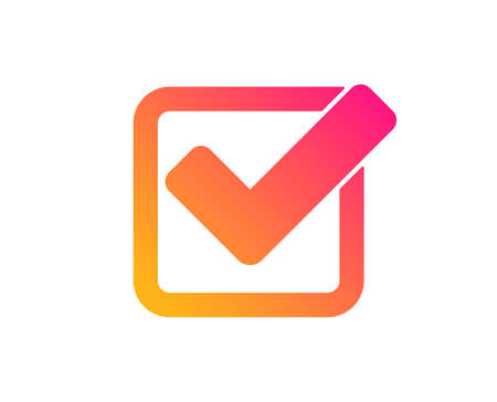 Check icon. Approved Tick sign. Confirm, Done or Accept symbol. Classic flat style. Gradient checkbox icon. Vector