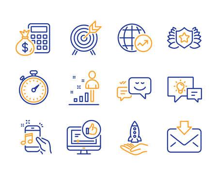 Idee lamp, wereldstatistieken en statistieken pictogrammen eenvoudige set. Gelukkige emotie, Crowdfunding en Finance rekenmachine borden. Muziektelefoon, boogschieten en zoals videosymbolen. Lijn idee lamp icoon. Kleurrijke set