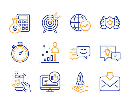 Idea lamp, World statistics and Stats icons simple set. Happy emotion, Crowdfunding and Finance calculator signs. Music phone, Archery and Like video symbols. Line idea lamp icon. Colorful set