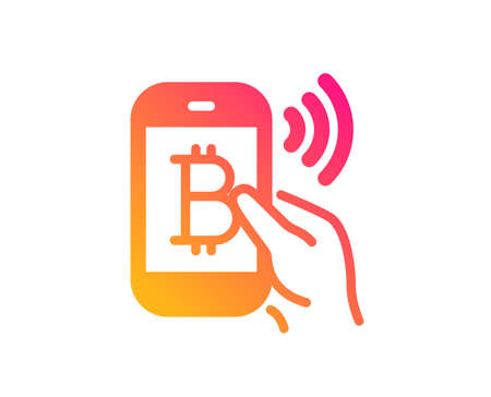 Bitcoin mobile pay icon. Cryptocurrency sign. Crypto money symbol. Classic flat style. Gradient bitcoin pay icon. Vector Ilustracja