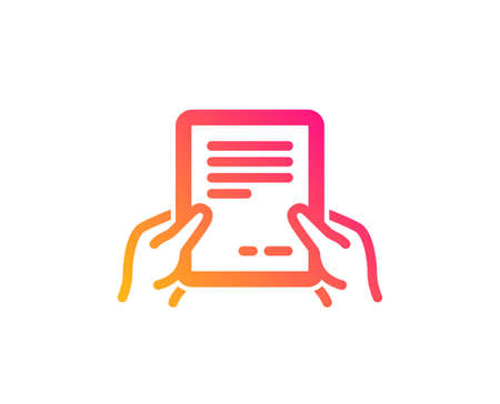 Hold Document icon. Agreement Text File sign. Contract with signature symbol. Classic flat style. Gradient receive file icon. Vector